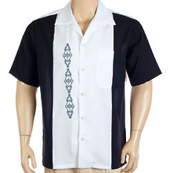 Black & White Embroidered Two Panel Camp Shirt