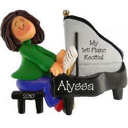 Personalized Female Piano Recital Ornament