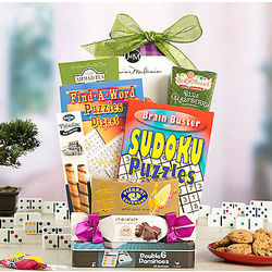 Puzzles, Games and Sweets Gift Basket