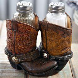 Cowboy Boot Salt and Pepper Shaker Holder