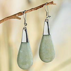 Guatemalan Jade and Sterling Silver Earrings