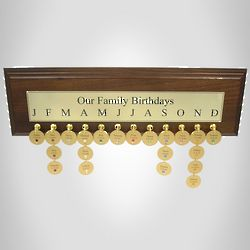 Engraved Family Birthdays Plaque