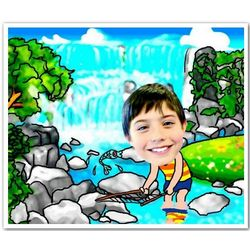 Your Photo in a Camping and Fishing Caricature Print