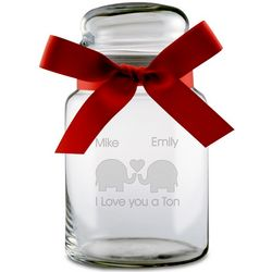 I Love You A Ton Personalized Elephant Candy Jar