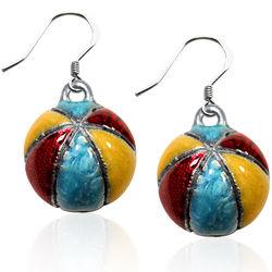 Beach Ball Charm Earrings in Silver