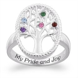 Sterling Silver Birthstone Family Tree Ring