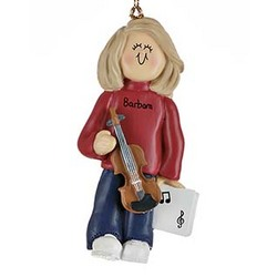 Female Violin Player Personalized Christmas Ornament