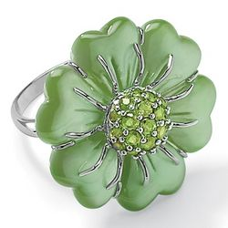 Green Jade Flower Sterling Silver Ring