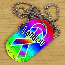 Personalized Autism Ribbon Dog Tag