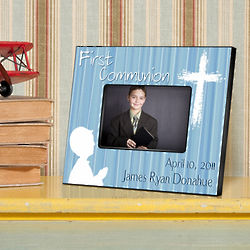 Hear My Prayer Blue First Communion Personalized Picture Frame