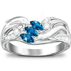 Dolphin Ring with Color-Changing Blue Cubic Zirconia