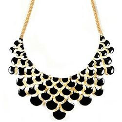 Black Teardrop Statement Bib Necklace