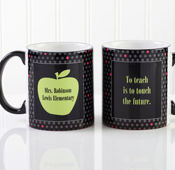 Green Apple Personalized Teacher Coffee Mug with Black Handle