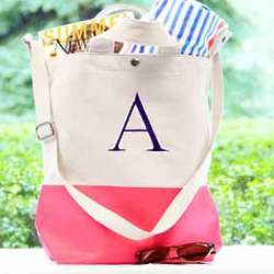 Personalized Color Dipped Canvas Tote