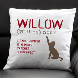 Definition of My Cat Personalized Pillow