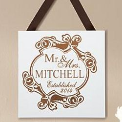 Personalized Ornate Mr. and Mrs. Wood Plaque
