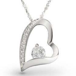 Sterling Silver Open Heart Cubic Zirconia Necklace