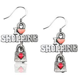 I Love Shopping Charm Earrings in Silver