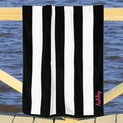 Personalized Embroidered Name Striped Beach Towel