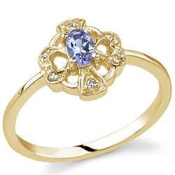 Cross & Heart Clover Tanzanite & Diamond 14K Yellow Gold Ring
