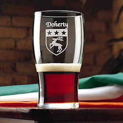 Personalized Etched Name and Coat of Arms Tavern Glasses