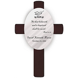 Personalized Mark 16:16 Baptism Cross
