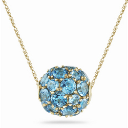 Swiss Blue Topaz Fashion Pendant in 14K Yellow Gold
