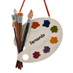 Painter Palette Personalized Christmas Ornament