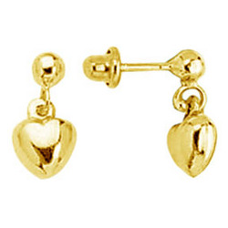 Gold Princess Children's Heart Earrings in 14K Yellow Gold