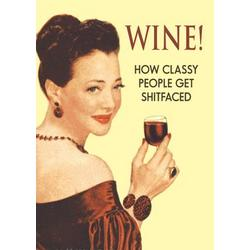 Wine Funny Talk Bubbles Happy Birthday Card