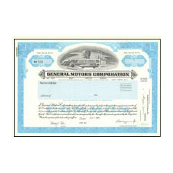 General Motors Stock Certificate Collectible