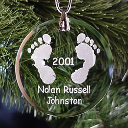 Personalized Etched Glass Baby Feet Christmas Tree Ornament