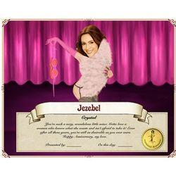 Showgirl Certificate Caricature Print