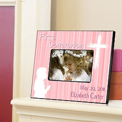Hear My Prayer Pink First Communion Personalized Picture Frame