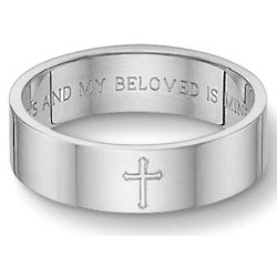 Sterling Silver Song of Solomon Cross Wedding Band
