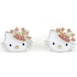 Enamel Kitty with Pink Rhinestone Crown Stud Earrings