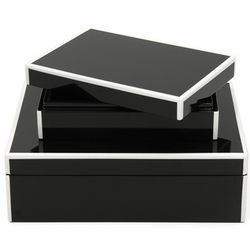 2 Lacquer Stacking Jewelry Boxes