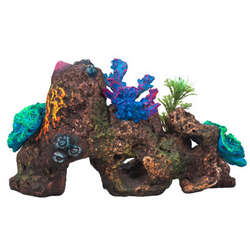 Rocks with Coral and Plants Aquarium Ornament