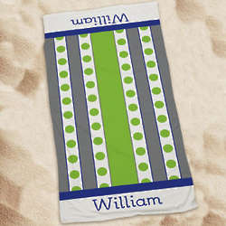 Personalized Green Polka Dots and Stripes Velour Beach Towel