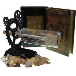 Engraved Love Factory Message in a Bottle with Gear Stand