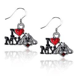 I Love My Dog Charm Earrings in Silver