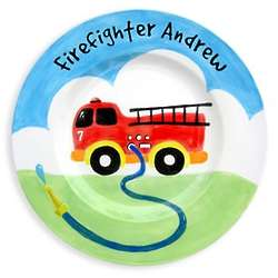 Personalized Fire Truck Baby Plate