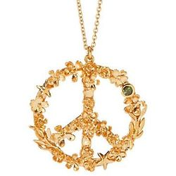 Flower Power 22k Gold Plated Peace Sign Necklace