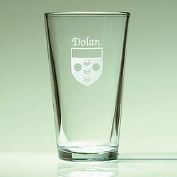 Personalized Etched Name and Coat of Arms Pint Glasses