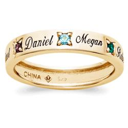 18K Over Sterling Mothers Name & Birthstone Band