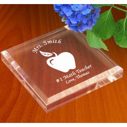 Personalized Teacher's Apple Keepsake & Paperweight