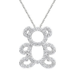 Diamond Teddy Pendant in 14K White Gold
