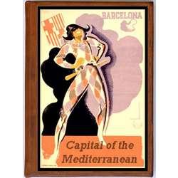 Barcelona 1 Vintage Travel Art Handmade Leather Photo Album