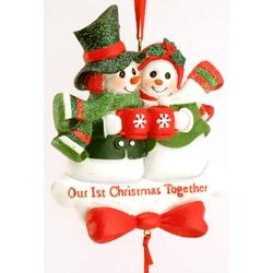 "Engravable Glitter ""Our First Christmas"" Ornament"