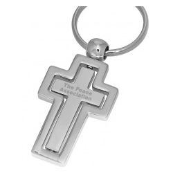 Personalized Spinning Centerpiece Christian Cross Keychain